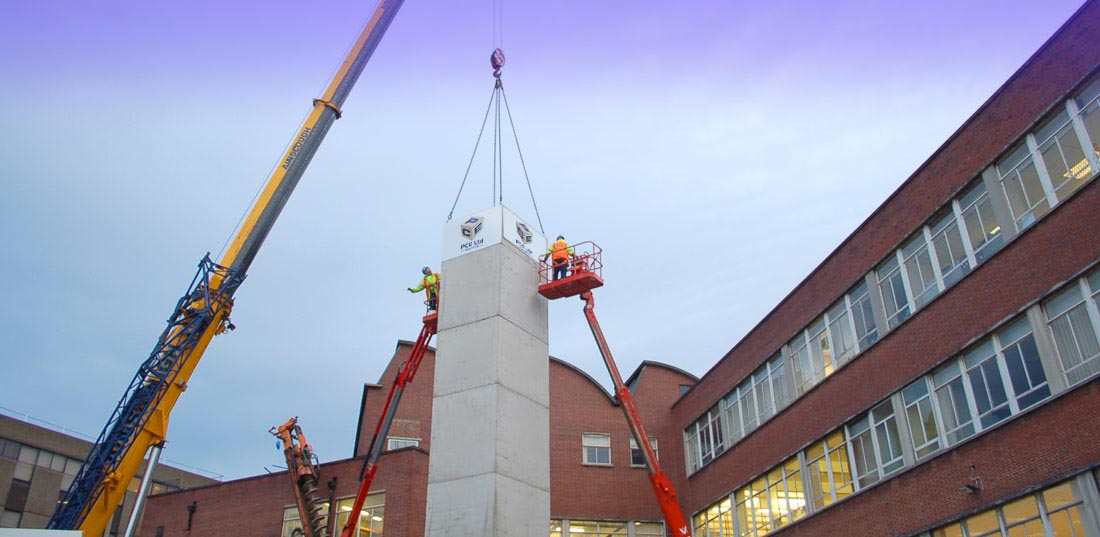 Precast concrete lift shafts supplied by PCE