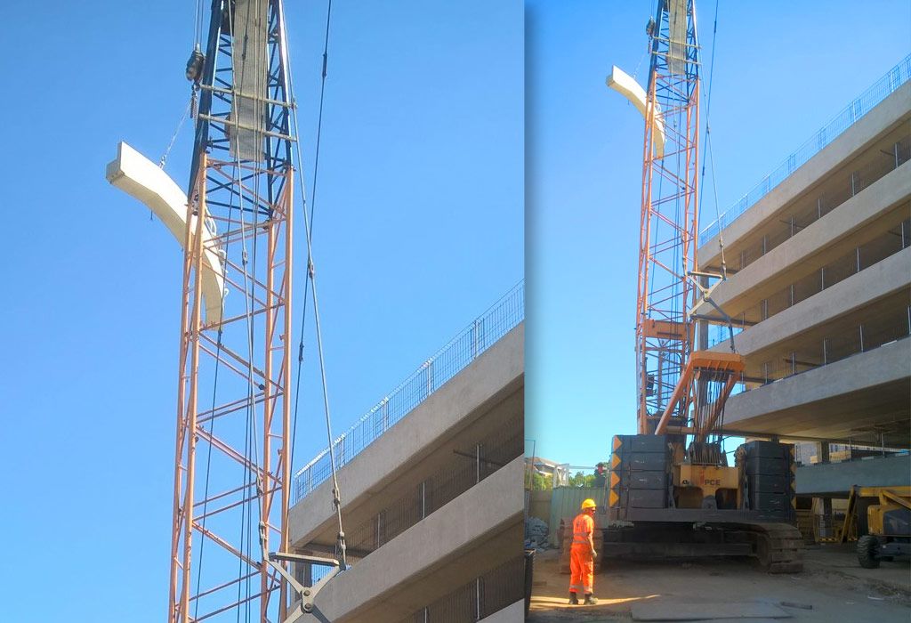 Precast concrete car park ramp by PCE Ltd being erected