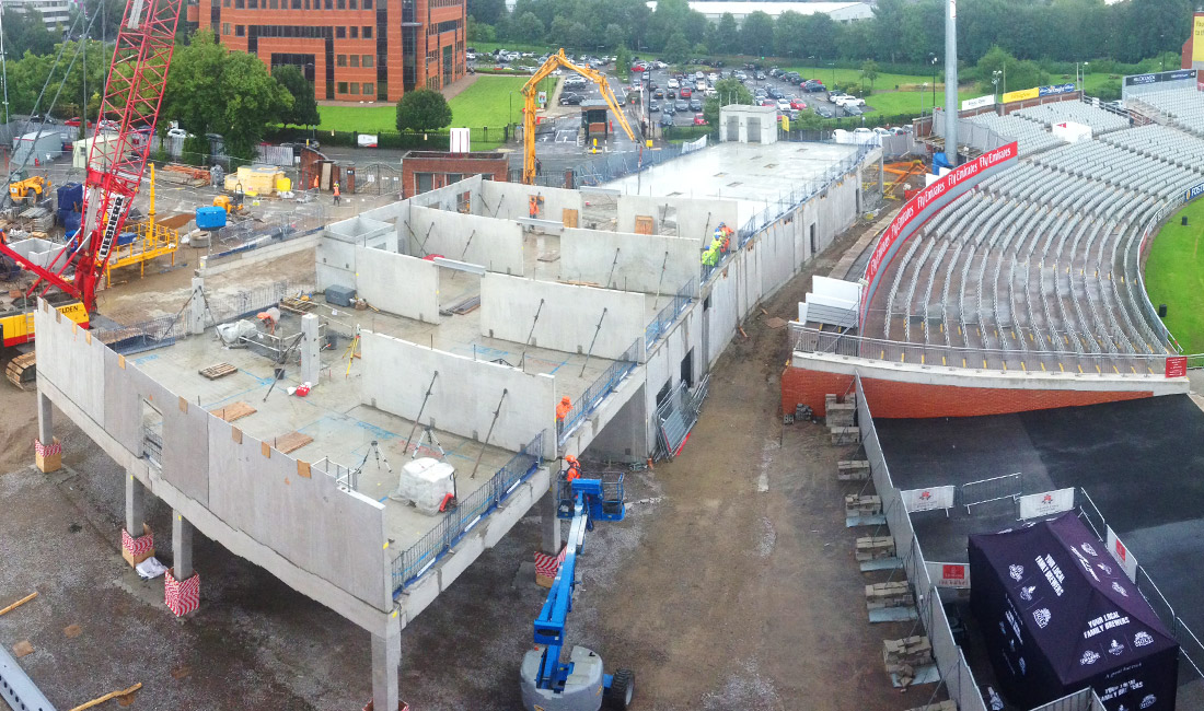 Emirates Old Trafford ground in Manchester features PCE's hybrid construction methods