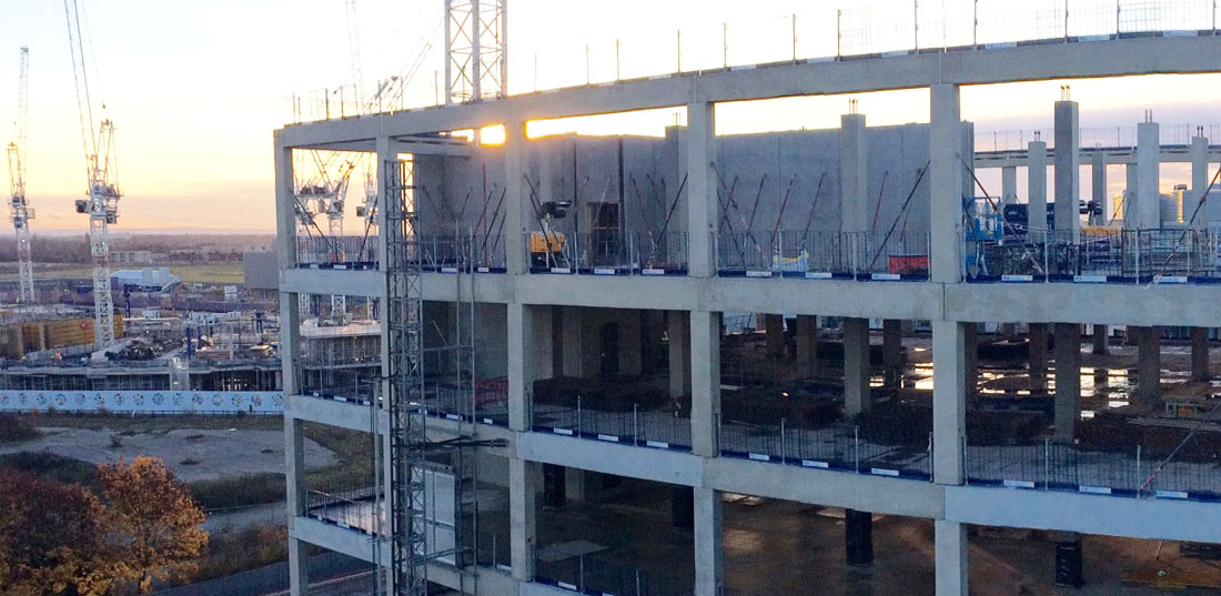 Delta beam spine beams have been used in the construction
