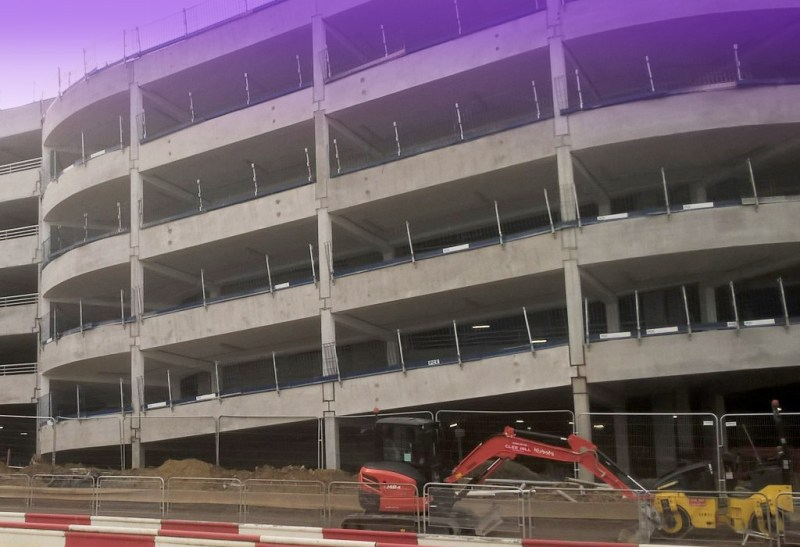 Precast concrete units being erected at Bracknell