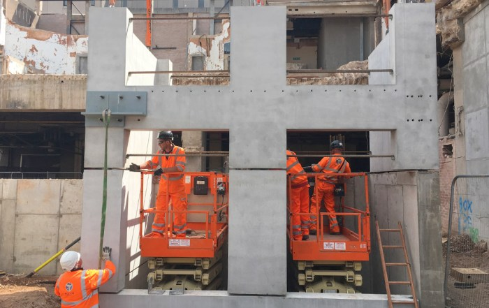 Assembly of offsite manufactured precast units by PCE