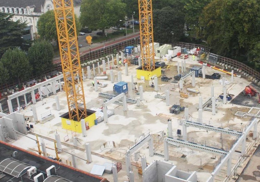 Aerial view of precast concrete beams and columns