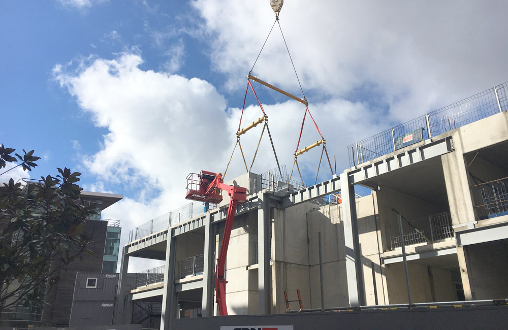Dakota Hotel update 7 – first sandwich panels craned into place