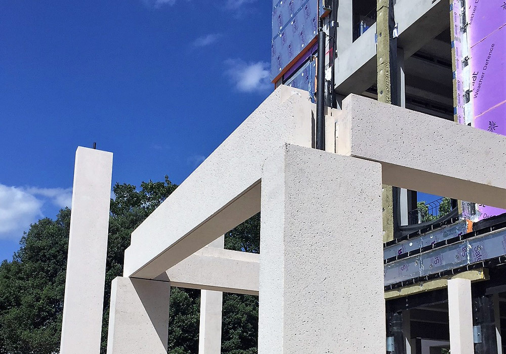 Precast concrete components on PCEs Town House project in London