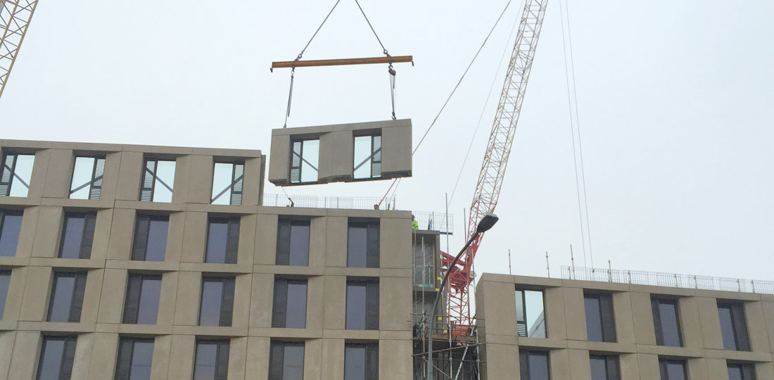 Precast concrete architectural finished units being installed in Birmingham