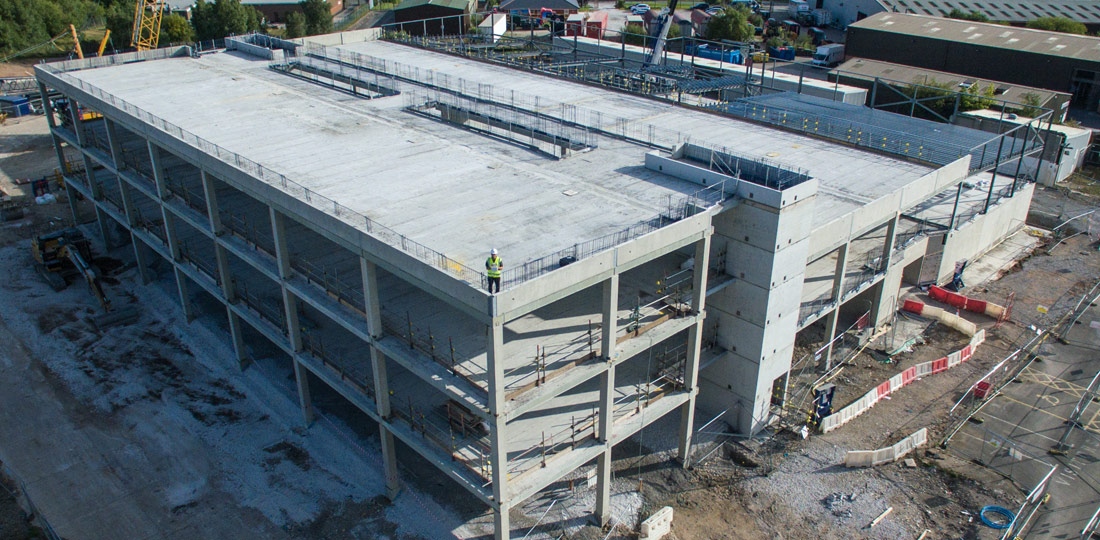 Fourteen PreFastCore precast concrete lift and stair boxes weighing up to 15 tonnes each were used within the building