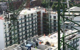 On site construction progress of the Chapel Wharf Salford, Manchester