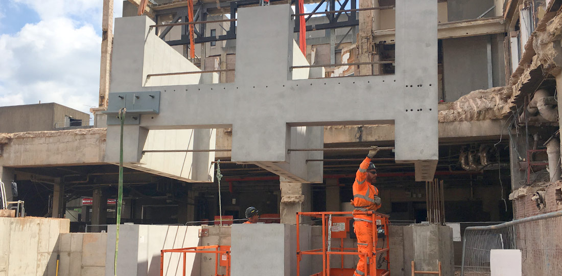 PCE building a a two storey hybrid structural frame at the city centre location