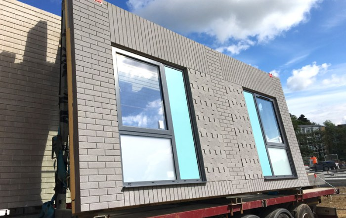 PCE's offsite engineered grey finish sandwich panels en route to Durham University