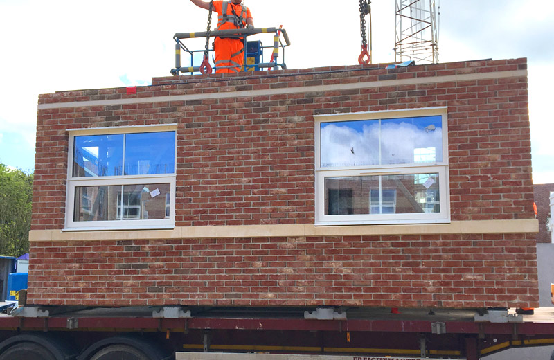 PCE's brick faced sandwich panels arriving at Mount Oswald