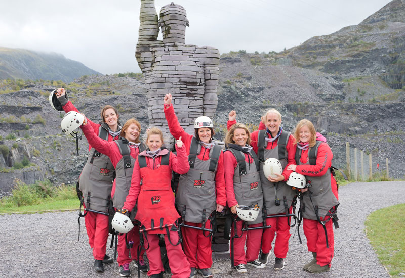 PCE ladies complete the ZipWire challenge in aid of Simon's Heroes