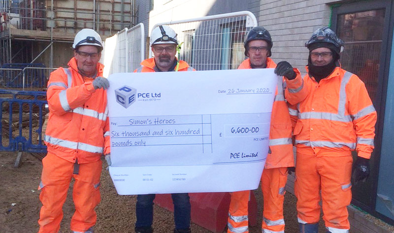 PCE's Mt Oswald project construction team in Durham supporting Simon's Heroes