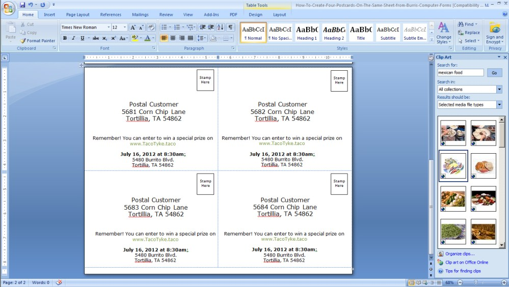 medium resolution of foak step 3b create a back for your postcards in microsoft word sup