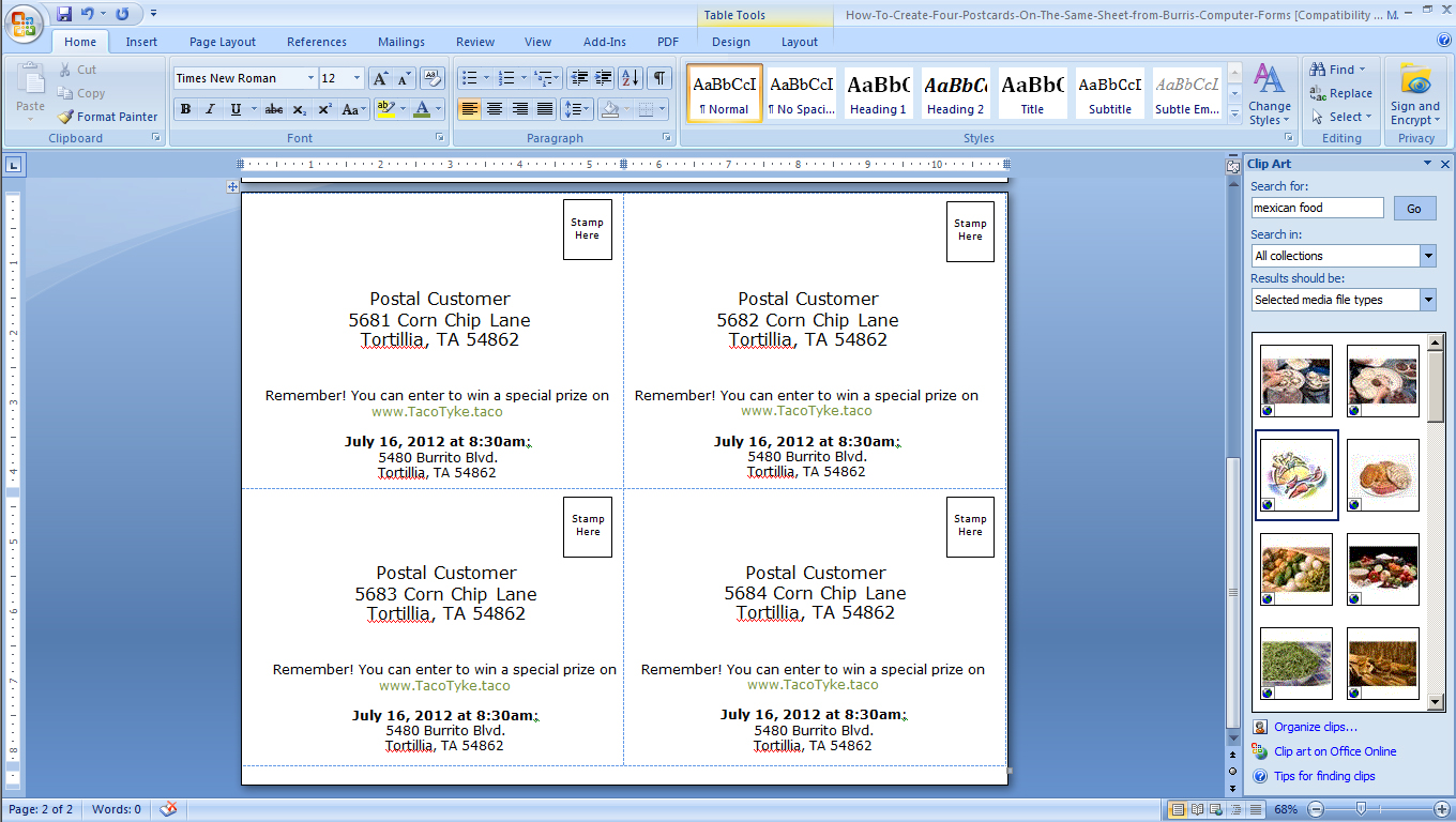 hight resolution of foak step 3b create a back for your postcards in microsoft word sup