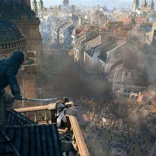 תמונה הלקוחה מתוך המשחק המציגה את ארנו ה-Assassin מתכונן להתנקש בחייל צרפתי.