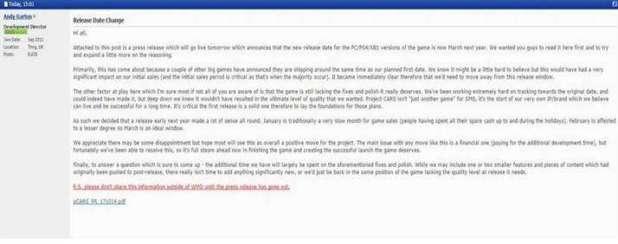 """הודעה שפורסמה בפורום לגבי דחיית המשחק ע""""י מנהל פיתוח אנדי גרטון."""