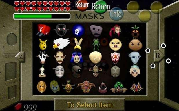 המסכות בהן לינק משתמש במשחק The Legend of Zelda: Majora's Mask.