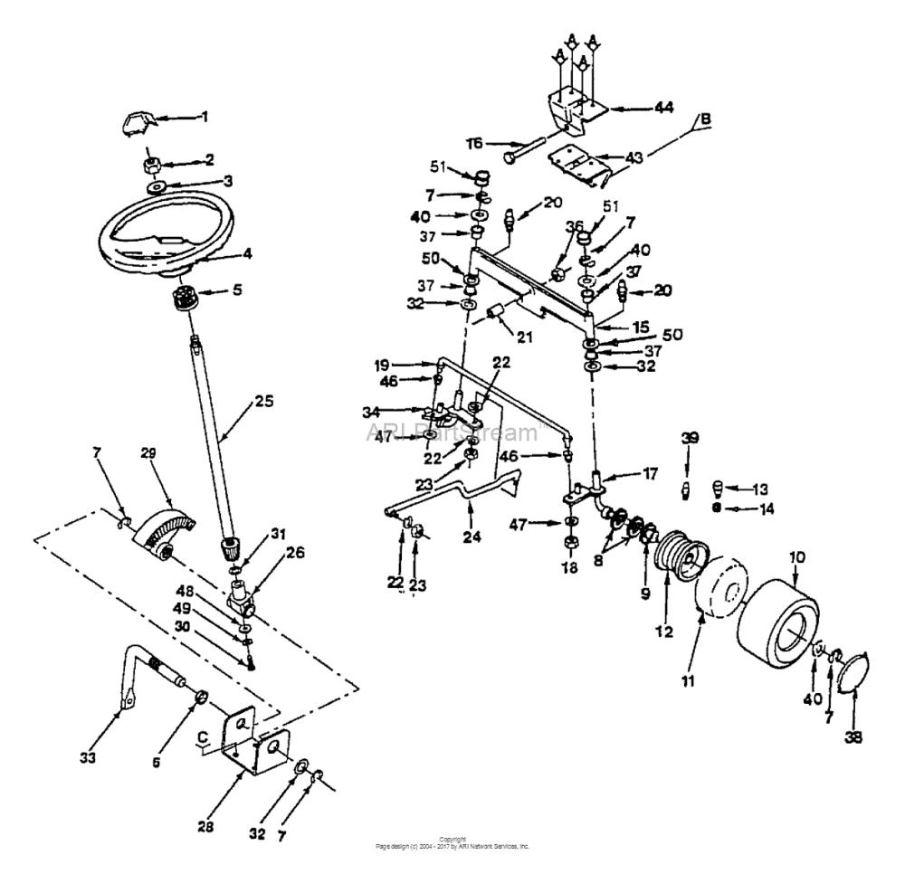 medium resolution of husqvarna gt 160 h1644c 1991 08 parts diagram for steering