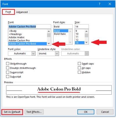 change default font size