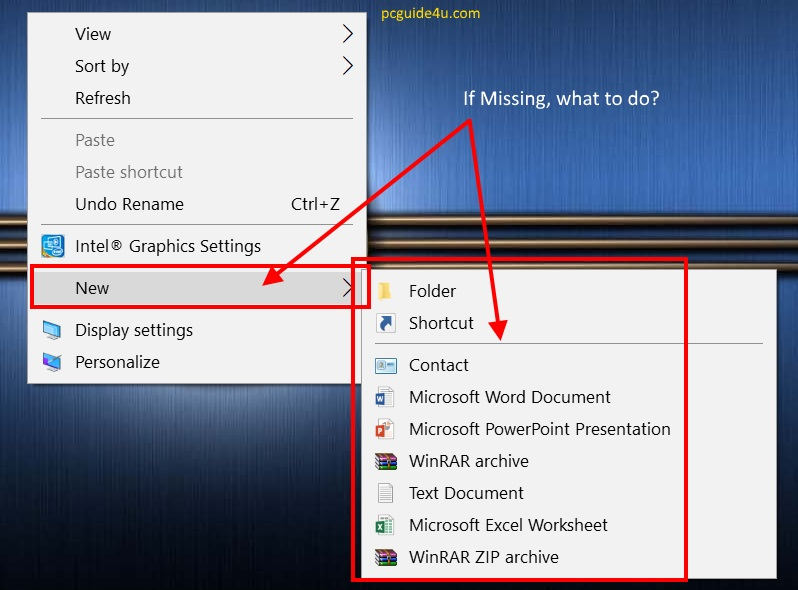 Restore Missing New Option from the Right-click Menu | PCGUIDE4U
