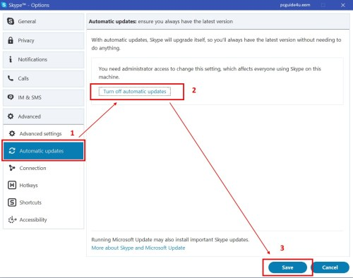 turn off automatic updates in Skype