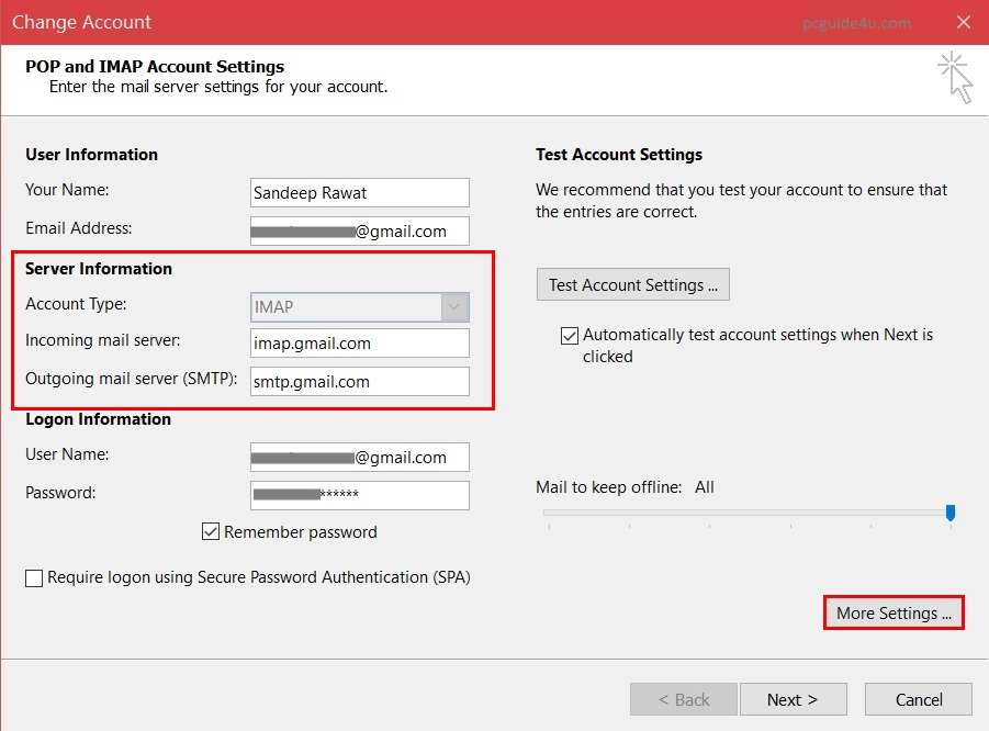 Configure Microsoft Outlook for Gmail - Add Gmail Config