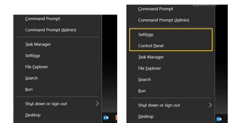 show control panel on win+x menu