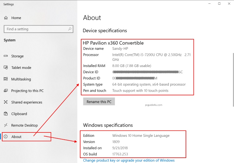 Check Windows Version or Windows Specifications | PCGUIDE4U