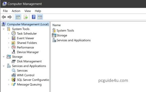 computer management shortcuts