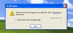 support ended for Windows XP