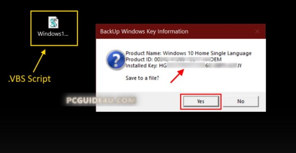find windows 10 product key with vbs script
