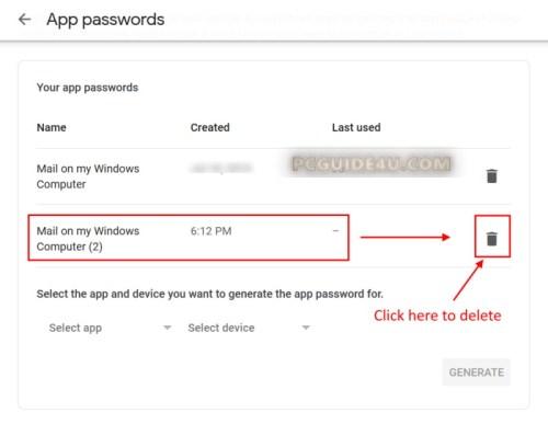 revoke gmail app password