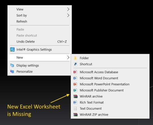 new excel document option is missing