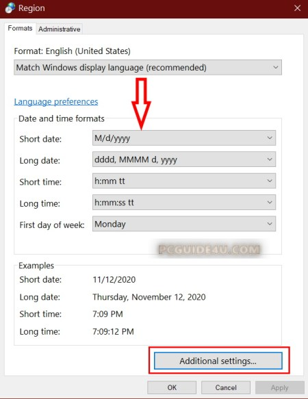 date and time format settings in Windows 10