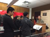 PCHC Volunteers and Members listening to private tour of new exhibition with CCMS President King Wan