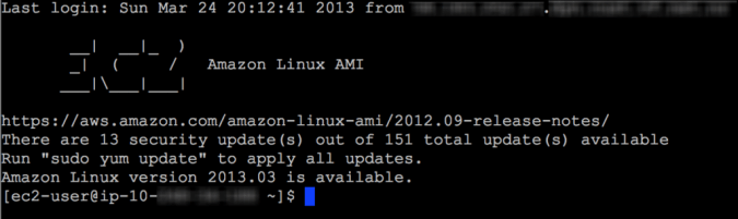 Figura 8. Amazon Linux MOTD indicando actualizaciones disponibles (Fuente: Amazon)