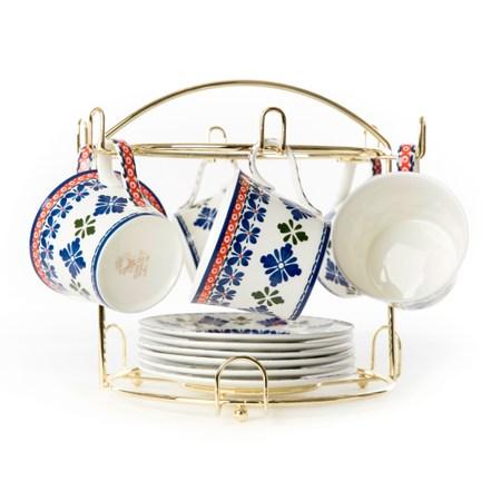 藍菱骨瓷六杯盤 附金架 咖啡茶具 特力家購物網