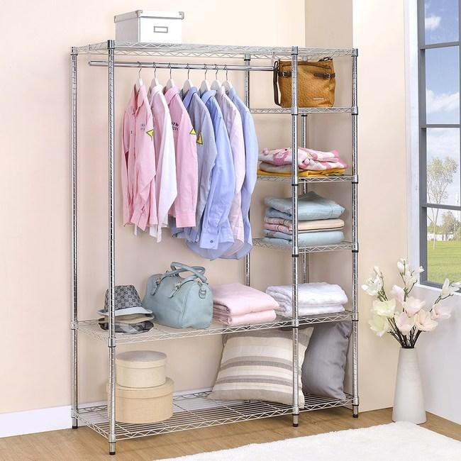 伊登 六層鐵力士衣櫥/衣櫃/衣櫥架(紅橘條)|收納櫃|特力家購物網