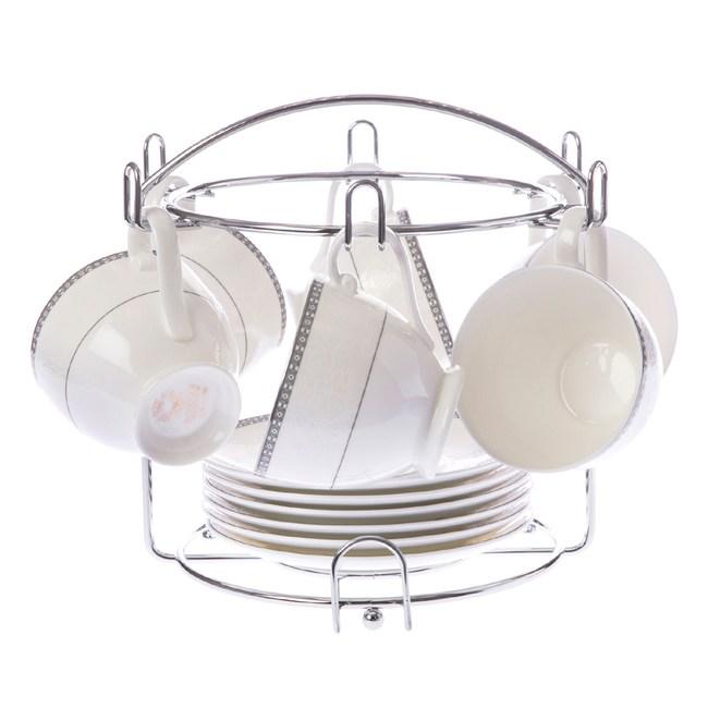 浮雕花骨瓷六杯盤 附銀架 咖啡茶具 特力家購物網