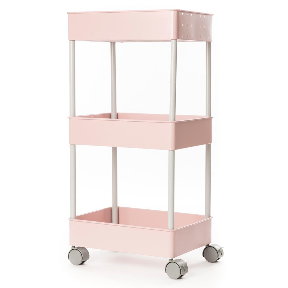 HOLA 鐵製烤漆三層推車 粉色 烤漆丨金屬層架 特力家購物網