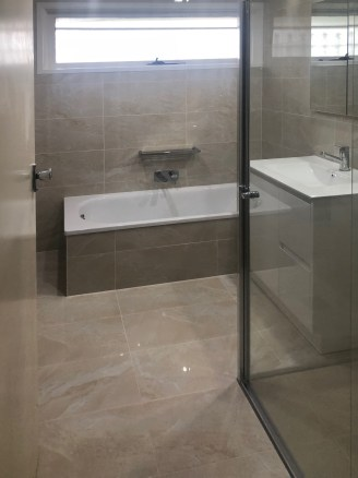 Neutral Bathroom renovation, Ferntree Gully
