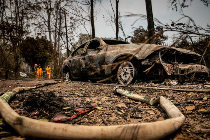 A scene of the carnage left behind by the fires at Bobin. ABC News: Mridula Amin