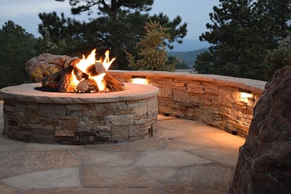 stone built-in fire pit
