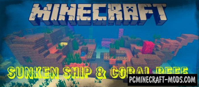 Sunken Ship And Coral Reef Seed Minecraft PE 130 Aquatic