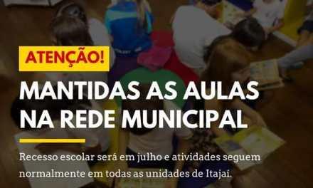 Mantidas as aulas na Rede Municipal de Ensino de Itajaí na próxima semana