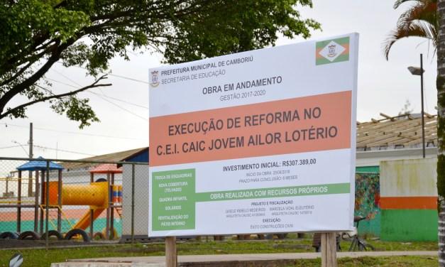 Prefeitura de Camboriú executa obras e melhorias em escolas e CEIs