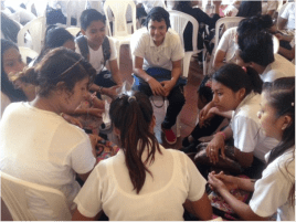 Small group discussions at after-camp project in Masaya