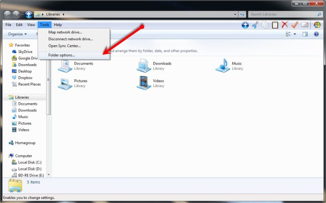 To show hidden files in Vista, Windows 7 and Windows 8, select Tools, then Folder Options