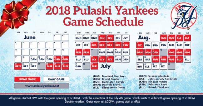 Pulaski Yankees announce 2018 schedule